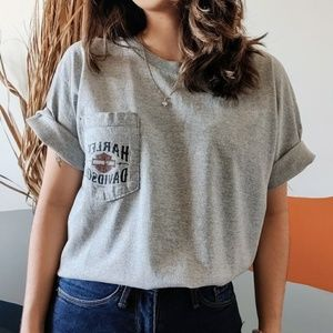 Vintage Harley Davidson Graphic T Shirt in Grey